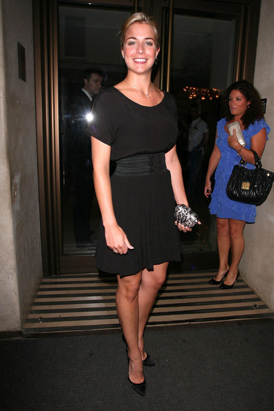 Gemma Atkinson paired her black pumps with a cap-sleeve black dress.