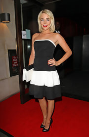 Lydia Bright strutted down the red carpet of the ITV Summer Party in a black-and-white strapless dress.