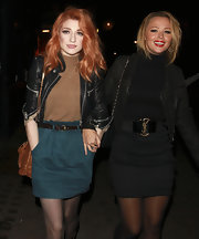 Kimberley Walsh accessorized her all-black outfit with a YSL elastic belt during a night out with Nicola Roberts.