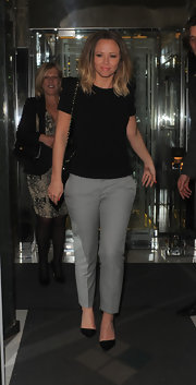 Kimberley Walsh was casual and comfy in pin-dot pants and a knit top while clubbing in London.