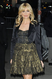 Sarah Michelle Gellar teamed her flouncy gilded cocktail dress with a cropped satin blazer.