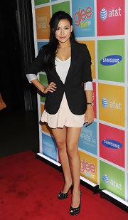 Naya Rivera had some fun with her footwear and opted for polka-dot peep toe pumps.