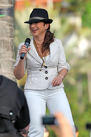 Gloria Estefan looked amazing in a black panama hat at the Miami Sound Machine.
