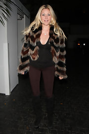 Shanna Moakler was spotted at the Chateau Marmont in a striped fur coat.