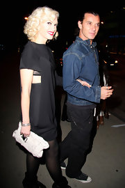 "Gwen carried the edgy, chic, crinkled leather ""Campbell Morgan"" clutch while out with her hottie hubby."