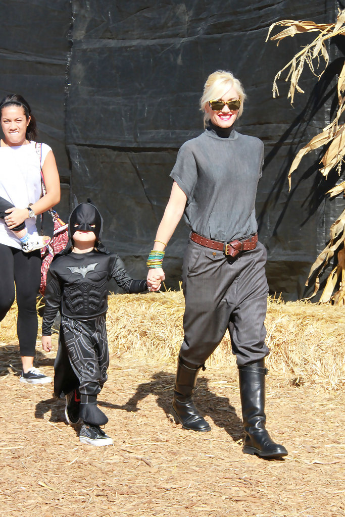 Gwen Stefani takes her two sons Kingston and Zuma to Mr. Bones pumpkin patch for a some early Halloween fun. Stefani wore a sheer grey top, baggy trousers and knee high leather boots, while her sons Kingston and Zuma opted for two variations of the Batman costume.