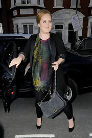 Adele wore a tie-dye tunic under her black blazer for the Beyonce show.