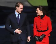 Prince William wore a dotted blue tie for his trip to St Andrews University.