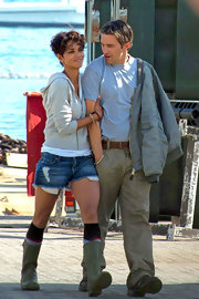 Halle Berry looked ready to go puddle jumping in these rain boots and short shorts.