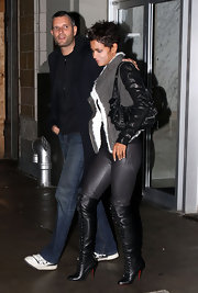 Halle Berry was out in about in New York, looking exceptionally chic in lace up over-the-knee boots.