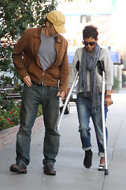 Halle Berry loves accessorizing with soft print scarves like this one.