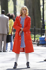 Dianna wore this bright orange vintage coat by Courreges whist filming for 'Glee'.