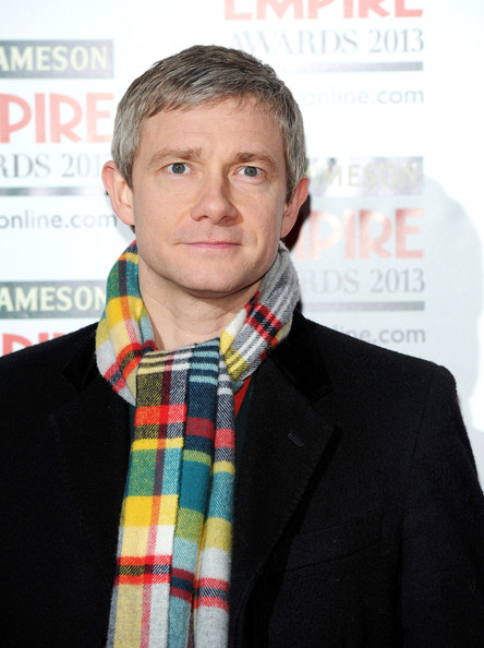 Martin Freeman sported this multi-colored plaid scarf for a bright and fun look at the Empire Film Awards.