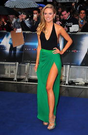 Kimberly Garner's long and lean figure looked great in this black and emerald green gown.