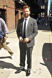 Jason Sudeikis looked dapper at the 'Late Show with David Letterman' in a tailored gray suit.