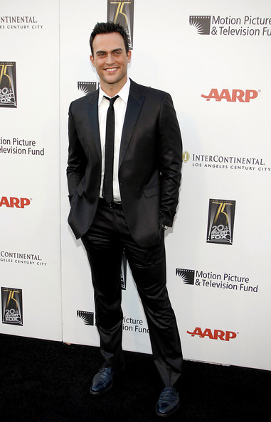 Cheyenne Jackson's black suit was a standout, thanks to its fashionable sheen.