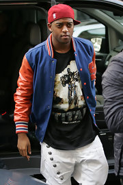 Oritse Williams looked so colorful and cheery in his track jacket.