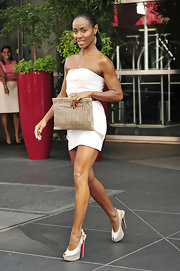 Jada paired her Fendi peplum dress with sky-high platform Eva Diva slingbacks.