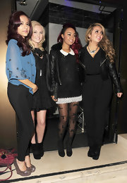 Jesy Nelson was unusually low-key in a black jumpsuit and leather jacket.