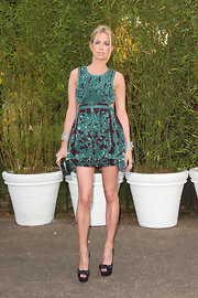 Caroline Stanbury chose this green and purple tapestry-print frock for the Serpentine Gallery Summer Party.