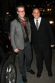 James donned a skinny plaid scarf with his blazer and jeans for a night out in Hollywood.