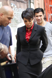 Janet showed off her cropped haircut while filming 'For Colored Girls'.