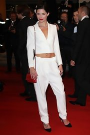 Delphine Chaneac showed off her well-toned abs with a cropped blazer at the 'Like Someone in Love' Cannes premiere.