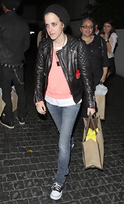 Samantha Ronson toughened her street style with a black quilted leather jacket and a matching beanie.