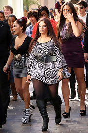 Deena Nicole Cortese went wild in a zebra print dress with an oversize belt.
