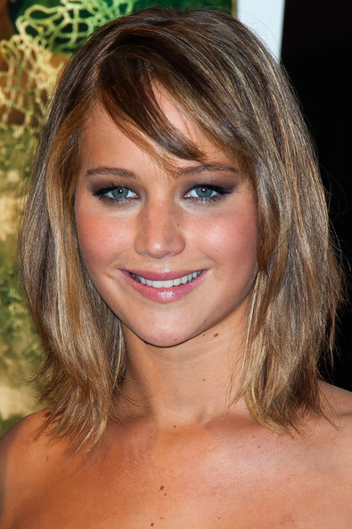 Jennifer Lawrence Medium Straight Cut with Bangs