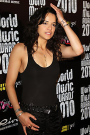 Michelle Rodriguez added subtle sparkle to her all-black ensemble with some silver bracelets when she attended the 2010 World Music Awards.