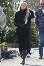 Jennifer Morrison chose this black pea coat with a standing collar for her look on the set of 'Once Upon A Time.'