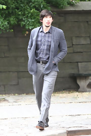 Adam Driver's light blue blazer matched his plaid shirt and gray slacks to a tee on the set off 'Girls.'