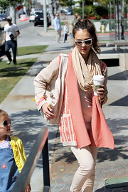 Jessica Alba wore this tan scarf with her neutral ensemble while out shopping with her daughter.