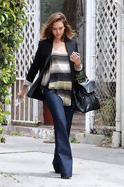 "Jessica wore a pair of ""Love Story"" maternity bell bottom jeans in Indigo while out in Beverly Hills."