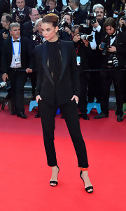 Barbara Palvin showed off her fierce side in a fitted black blazer at the Cannes premiere of 'Behind the Candelabra'.