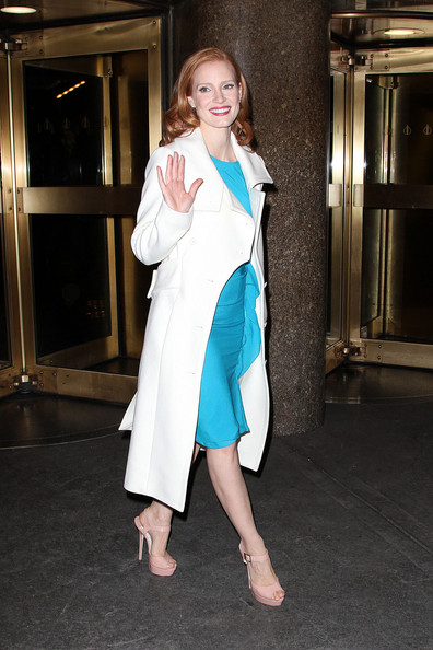 More Pics of Jessica Chastain Leather Shoulder Bag (2 of 12) - Jessica Chastain Lookbook - StyleBistro