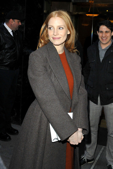 More Pics of Jessica Chastain Wool Coat (1 of 10) - Jessica Chastain Lookbook - StyleBistro