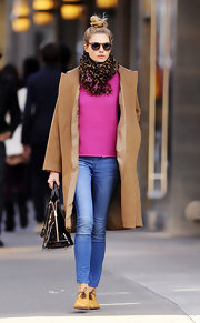 Jessica Hart wore this leopard print scarf while out and about in SoHo.