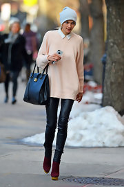 Jessica Hart's wine-colored boots and black leather skinnies finished off her look in fierce style.