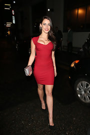 Jessica Lowndes showed off her curves with this bold and bright red cocktail dress.