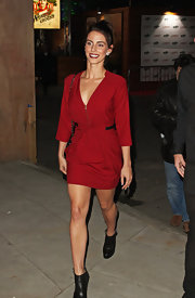Jessica Lowndes chose a crimson red fitted frock for her look while out in London.