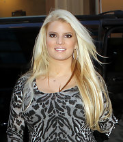 Jessica Simpson wore her ultra blond tresses straight and flowing while out in NYC.