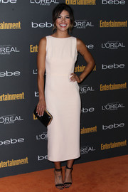 Jessica Szohr looked effortlessly stylish in a sleeveless white sheath during the Entertainment Weekly pre-Emmy party.