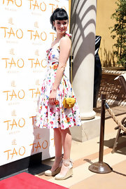Krysten Ritter paired her sweet floral frock with ivory espadrilles while celebrating the opening of Tao Beach in Las Vegas.