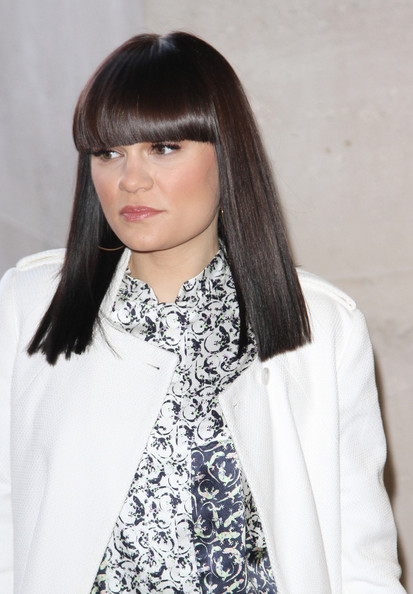 More Pics of Jessie J Medium Straight Cut with Bangs (1 of 8) - Shoulder Length Hairstyles Lookbook - StyleBistro