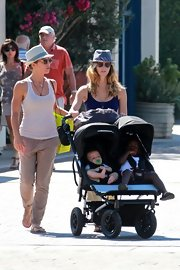Jillian Michaels sported a comfy get-up while out strolling, consisting of khakis and a white tank top.
