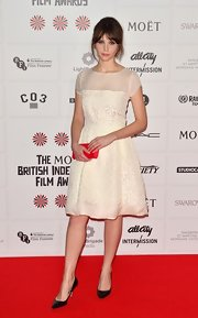 Felicity Jones was a total doll in this innocent white dress at the British Independent Film Awards.