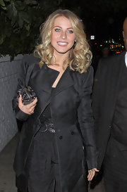 Julianne Hough toughened her sleek black style with a studded box clutch.