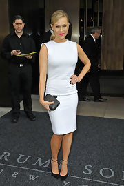 Julie Benz showed off her fit figure with this fitted white sleeveless frock.